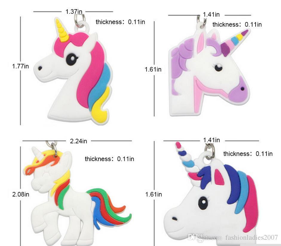 Unicórnio Chaveiro Bonito 6 Projetos Animal Cavalo Pônei PVC Chaveiros Mulheres Saco Charme Anel Chave Pingente Presentes de Alta Qualidade K288