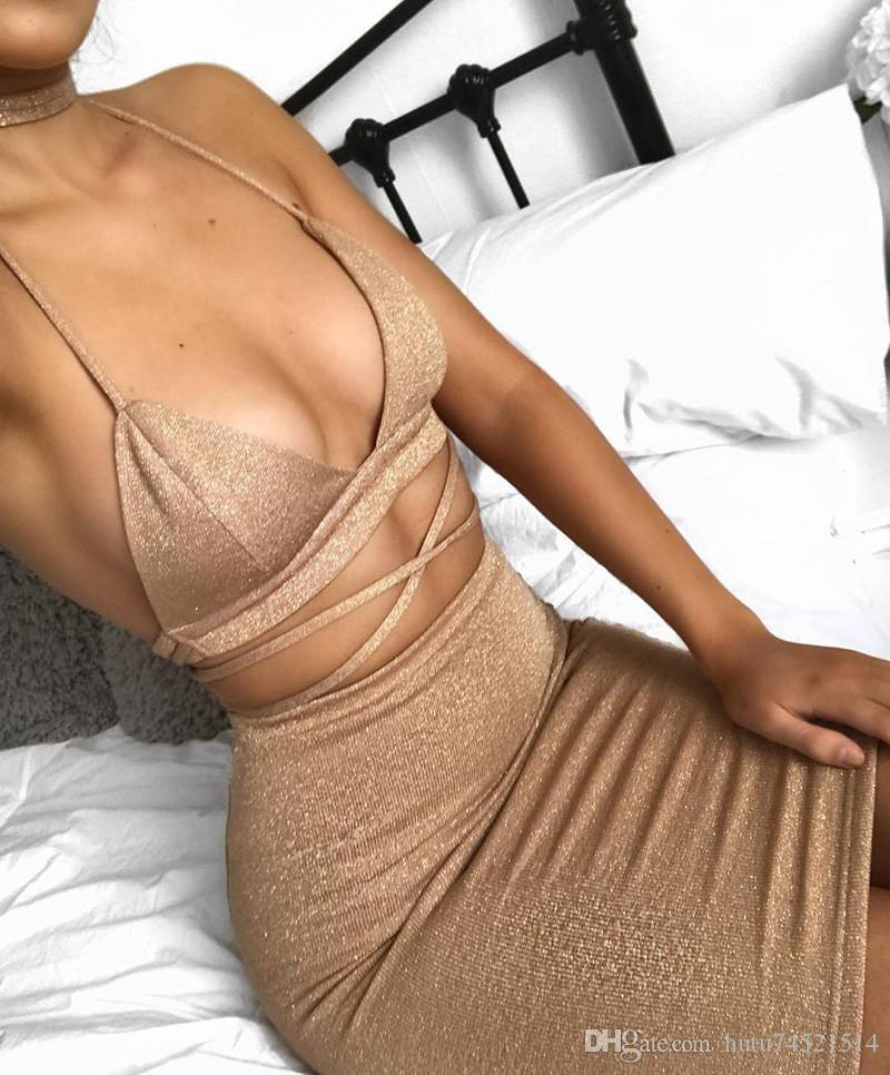 Sexy Sparkly Bandage Bodycon-Kleider 2017 Halfter Deep V-ausschnitt Lace Up Crop Top Two Piece Set Sommer Partykleider Vestidos