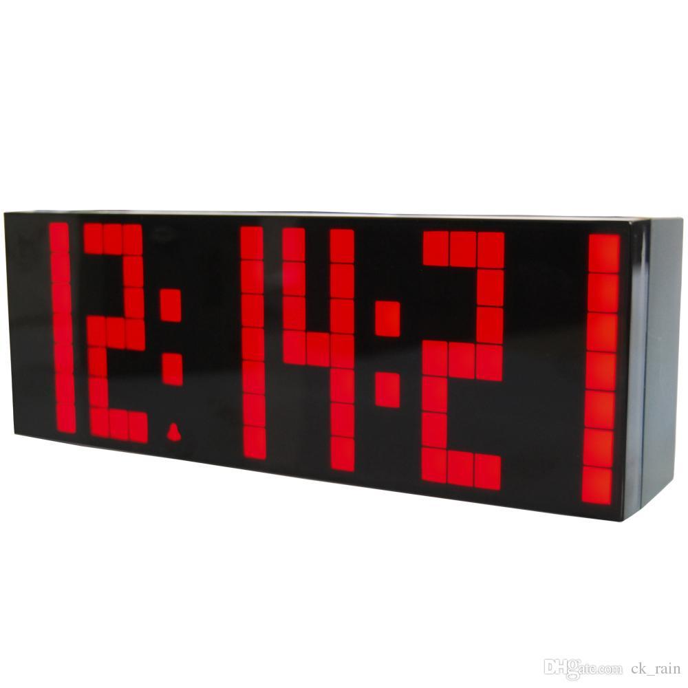 a4dd09117d2 Compre 3 Pçs   Lote Grande Jumbo LED Calendário Digital De Temperatura Mesa  De Parede Desk Alarm Relógio De Alarme Relógios Luminosos Silencioso  Estação ...