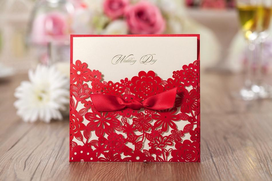 Elegant Pearl Wedding Invitation Red Elegant Handmade Laser Cut – Homemade Wedding Invitations Ideas Free