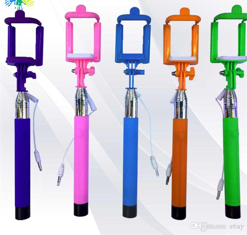 Foldable Z07-5S Audio cable wired Selfie Stick Extendable Handheld Monopod Plug and Play Cable Take Pole Wired 10 Colors With Retail Package