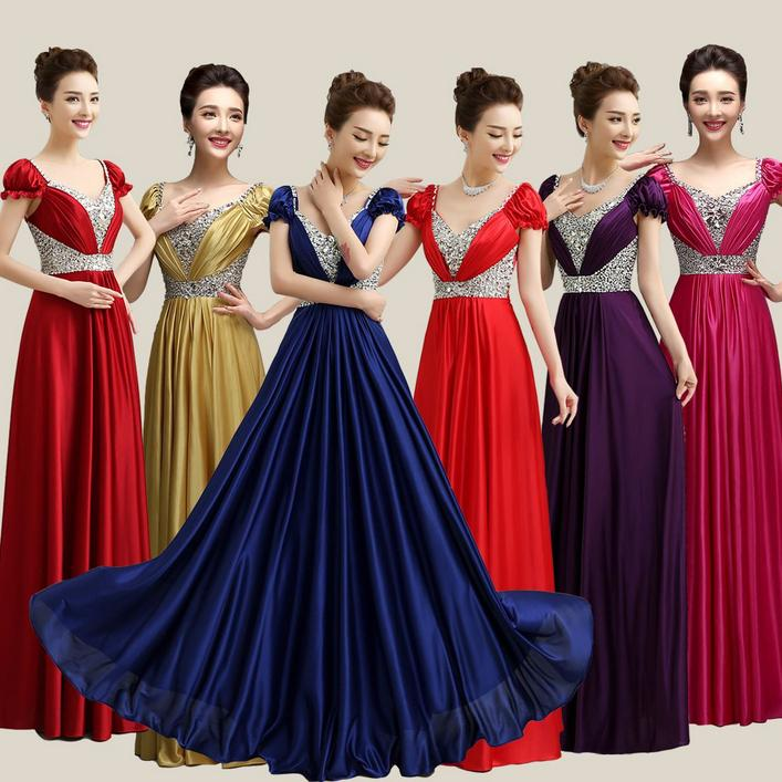 V Neck Royal Purple Plus Size Gold Long Satin Bridesmaid Women ...