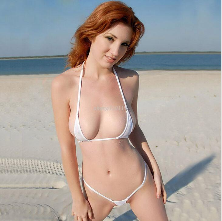 Model in micro bikini