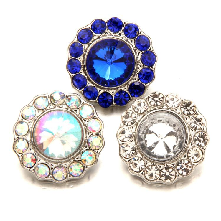 New Copper bottom + Crystal Colorful NOOSA Clasps jewelry Accessories 18mm Quadruple Snap button for DIY Bracelets Rings Pendants