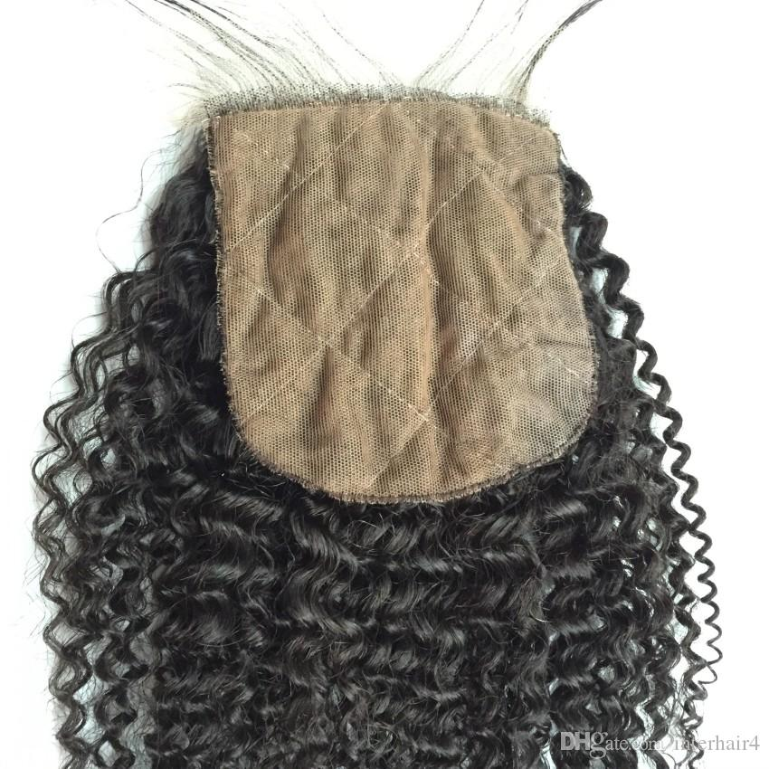 Top Wavy Brazilian Silk Based Closures Cheap 7A Human Hair Brazilian Afro Kinky Curly Silk Closure Bleached Knots Free Middle Three Part