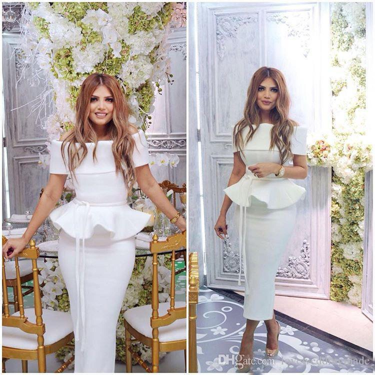 2017 Chic Arabic White Sheath Evening Gowns Bateau Tea Length Satin Peplum Formal Party Cocktail Dress Elegant Cheap