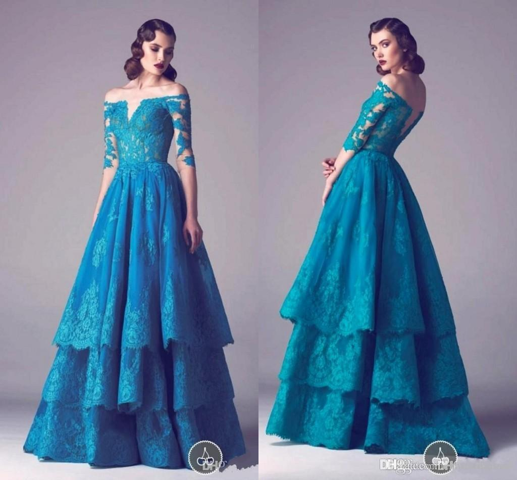 Dark Blue Layers Lace Off The Shoulder Prom Dress 2015 With Sheer ...