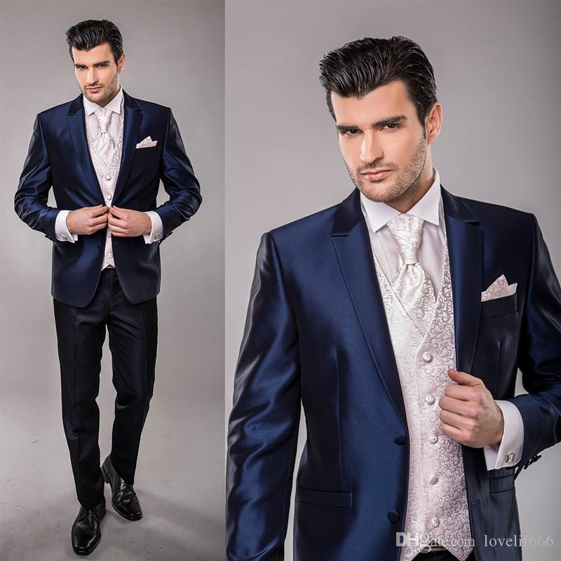 Handsome Custom Made Two Ons Navy Blue Formal Groom Tuxedos