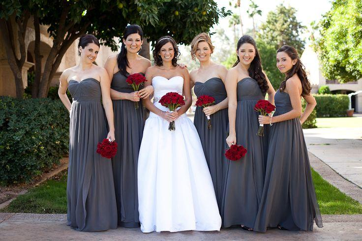 Gray Bridesmaid Dresses Long Floor Sweetheart Strapless Puffy ...