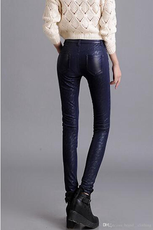 Han Edition Leisure Women Nieuwe Winter Mode Toon dunne elastische taille met fluweel in strakke kleine potloodleerbroek. S - 4XL