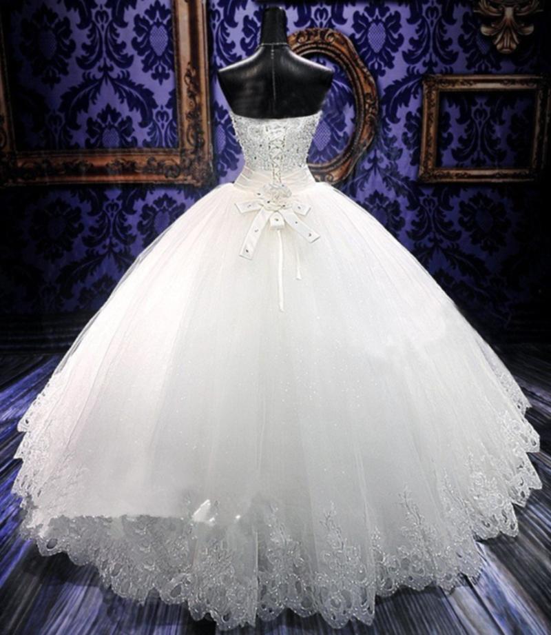 Robe De Bal Romantique Chérie Perles Tulle Robe De Mariée Avec Appliques 2016 Longueur Etage Robe De Mariée Lace Up