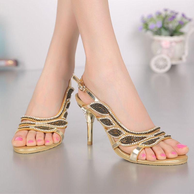 Green Rhinestone Women Sandals Stiletto Heel Wedding Bridal Formal High Heels Bridesmaid Shoes Plus Size Summer Dress Shoes Open Toe