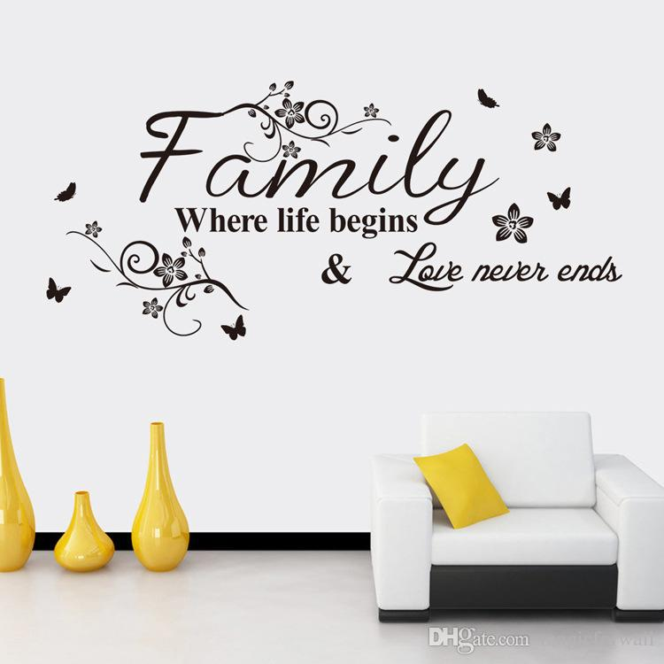 Black Flower Family Where Life Begins Love Never Ends Wall Quote Decal  Sticker English Saying Flower Rattan Art Mural Living Room Wall Decor Wall  Quotes ... Part 39