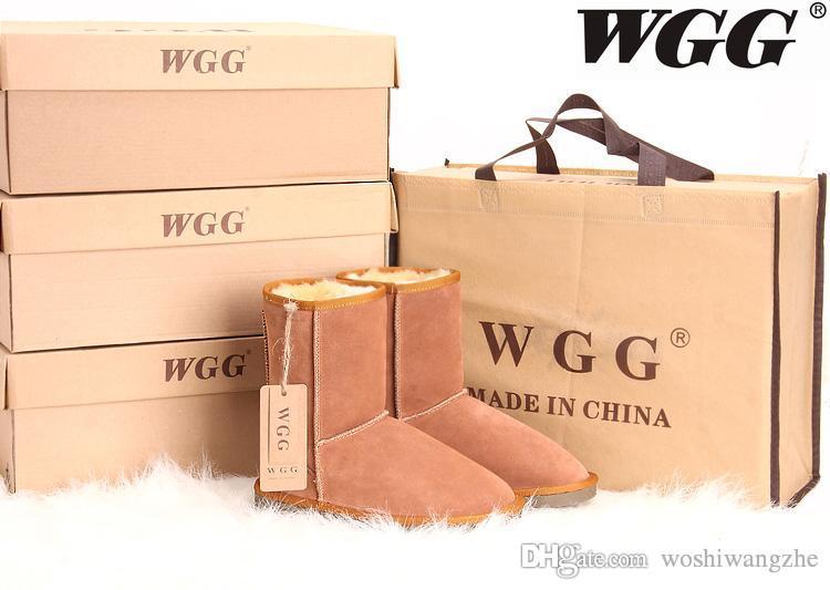 Marque de mode classique WGG Marque femmes populaires Australie Bottes en cuir véritable Bottes de neige de mode pour femmes US5 - US10
