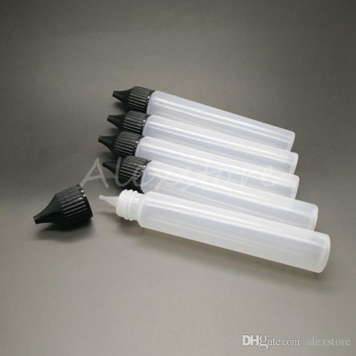 Unicorno Bottiglia vuota 30ml PE Top Cap Dropper Pen Style Unicron Erique Dripper Bottle con lunghi tappi neri bianchi Ricarica DHL