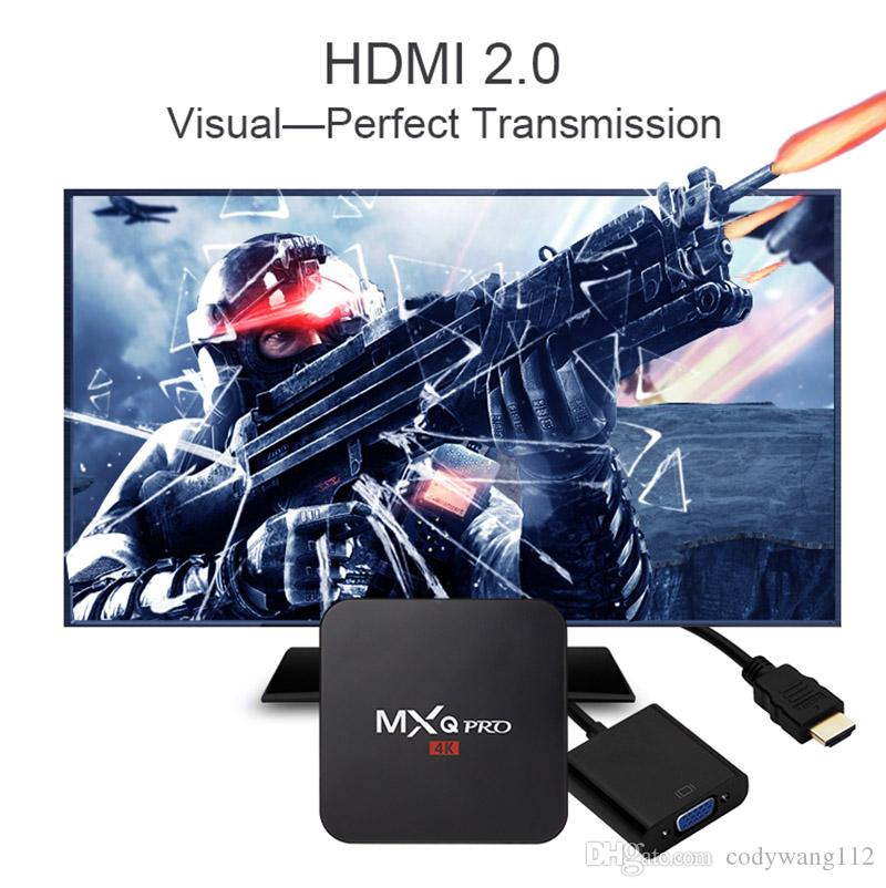 Fabrika ucuz MXQ Android 7.1 TV Box 1GB 8GB 2.4G WiFi 4k Akış Media Player TV Kutular PRO