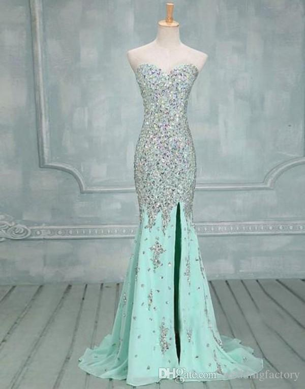 Sweetheart Mermaid Elegant Mint Prom Dresses Side Slit Beaded Silver Stones Vestidos de noche Sparkly Sexy Formal Long Pageant Vestido personalizado