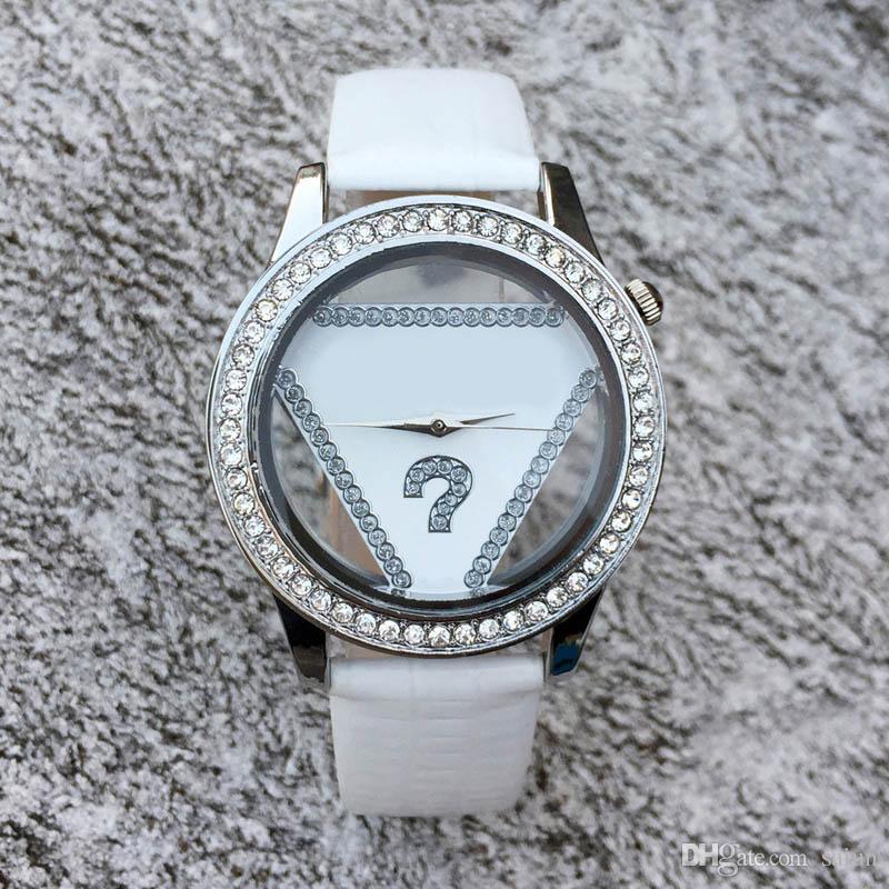 Orologio da polso al quarzo con cinturino in pelle con quadrante in cristallo stile ragazza di cristallo da donna GS05