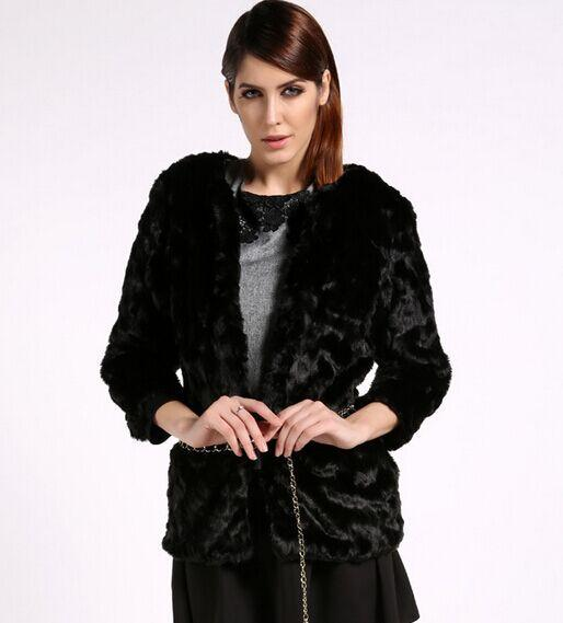 Manteau Noir Acheter En Femmes Élégant Fourrure Blanc Fausse 2015 HZg7xw