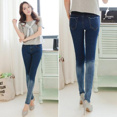 Female Jeans 2015 Korean Fashion Vintage Ripped Gradient Blue Denim Long Trousers Slim Pencil ...