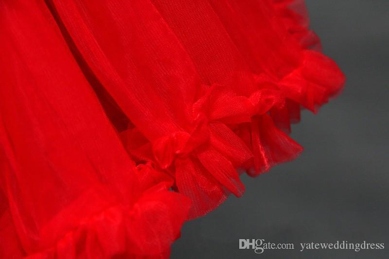 Czerwony Ruched Petticoats Kolorowe Custom Made Tulle Underskirt Dla Sukienka Ślubna Formalne Suknie 1950S Styl Petticoats Akcesoria dla nowożeńców