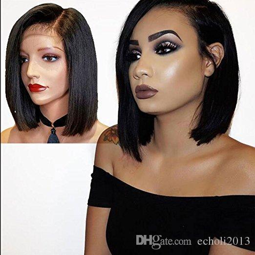 Diva1 Bob Prosty Ludzki Włosy Pełna Koronkowa Peruka Z Side Bang 14inch Glueless HD Front Brazylijski Peruki dla Czarnych Kobiet