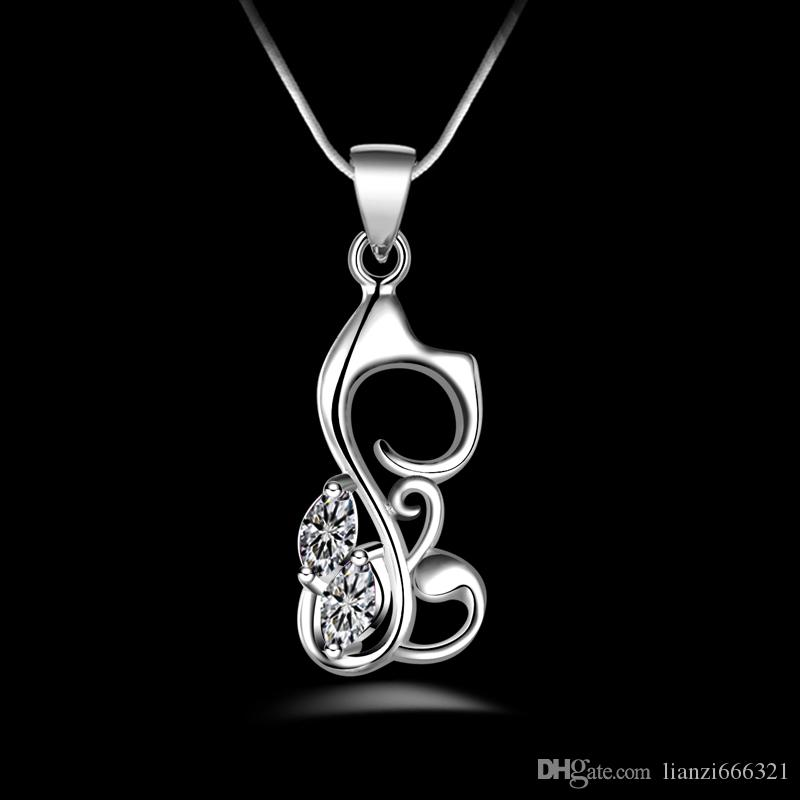 Envío gratis moda de alta calidad 925 gato de plata con joyas de diamantes blancos collar de plata 925 día de San Valentín regalos de vacaciones caliente 1687