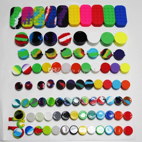 10 sizes silicone containers 3ml 5ml 6ml(ball) 7ml 9ml 10ml 22ml 4ml*6+10m  l*1 oil can wax jars for FDA approved bho dab wax vaporizer