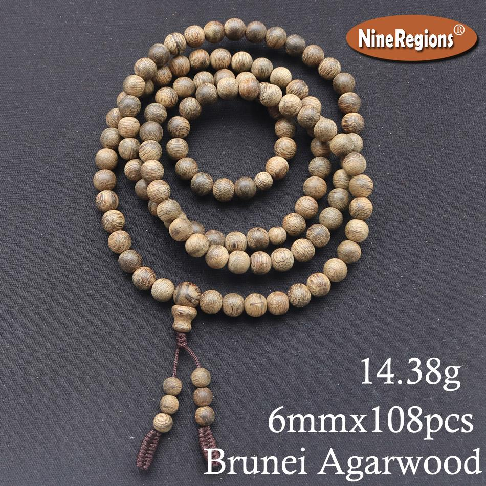 6mmx108pcs 14 38g Genuine Natural wild Brunei Aloeswood oud 90% under water  beads bracelet valued Christmas gift for women
