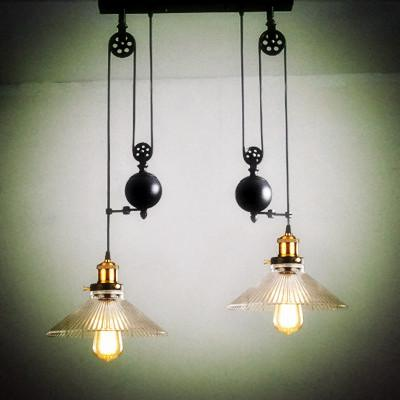 2 Wheels Kitchen Light Vintage Glass Pendant Light Pulley Lamps