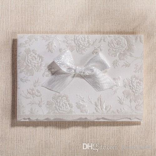 Pearl White Wedding Invitation CardsEnvelopesBowknot 2016