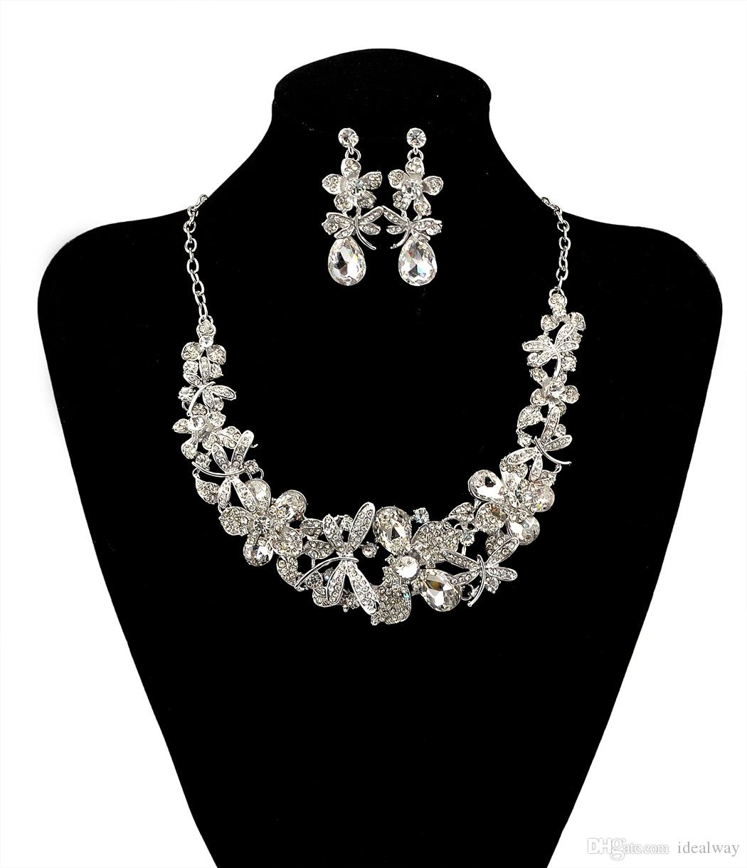 Moda Kore Tarzı Gümüş Zincir Renkli Charm Rhinestone Güzel Çiçek Yusufçuk Önlüğü Bildirimi Kolye Ve Küpe Seti Kadınlar Takı