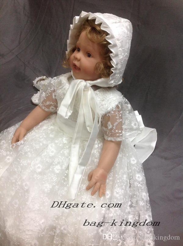 Heirloom Christening Baptism Gown Dress Ivory White Lace with Beaded ...