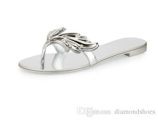 Chegada nova Marca Própria Moda Feminina Folha Asa Flip Flops Salto Plana Sandálias de Prata de Ouro Cores Sapatos Mulher Chinelo