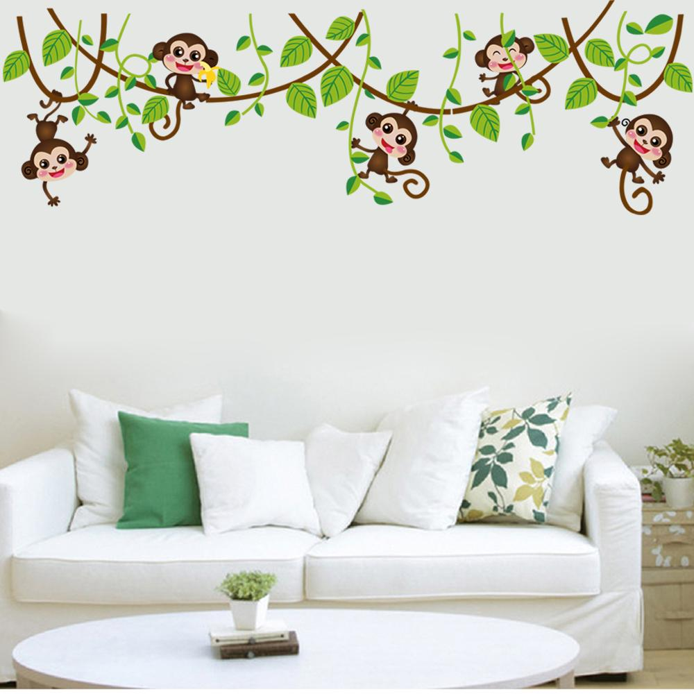 Naughty Monkey with Green Leaves Tree Branch Wall Decor Sticker Monkey playing on the tree Wall Art Mural Sticker Kids Nursery Wall Decor