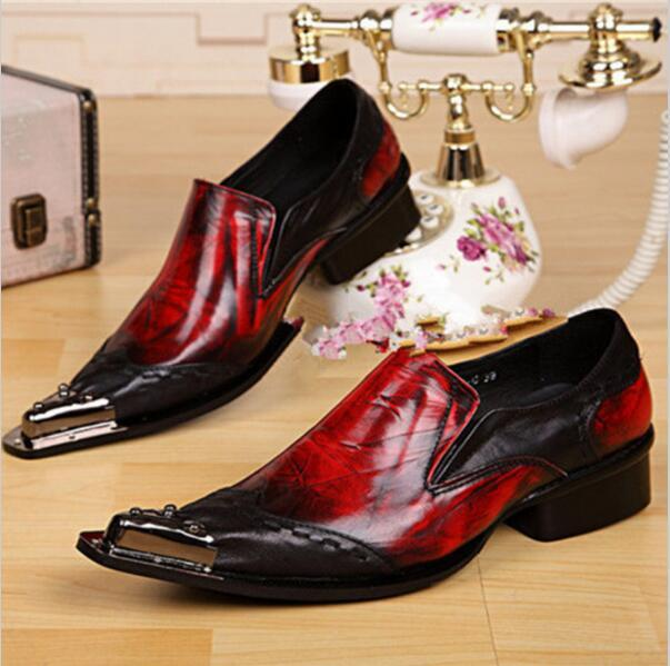 Plus Size 38-46 Mens Italian Brand Business Shoes Red Genuine Leather Dress Shoes for Men Wedding Shoes Hot Selling Shoes Men