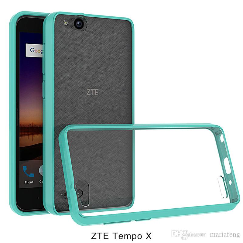 For zte tempo x N9137 blade vantage z839 clear Transparent Bumper soft TPU  hard PC Acrylic Back Cover Case