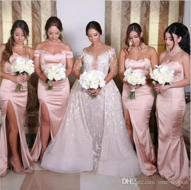 Vestidos de Dama de orアラビア語ブッシュマーメイドの花嫁介添人のドレス恋人側の分割メイドの名誉ガウン習慣結婚式のゲストドレス