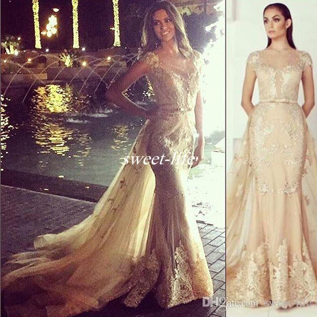 Zuhair Murad Gold Evening Dresses Over Skirts Lace Illusion Short Sleeve Sash Tulle 2016 Mermaid Vintage Formal Celebrity Dresses Prom Gowns