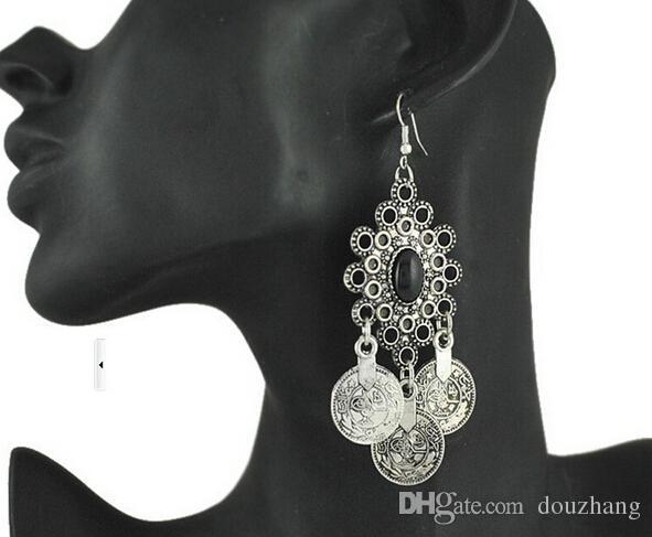 レトロな銀のトルコのコインのイヤリング花のデザイン自由奔放に生きるビーチ民族の部族祭りジュエリートルコのボヘミアのイヤリング