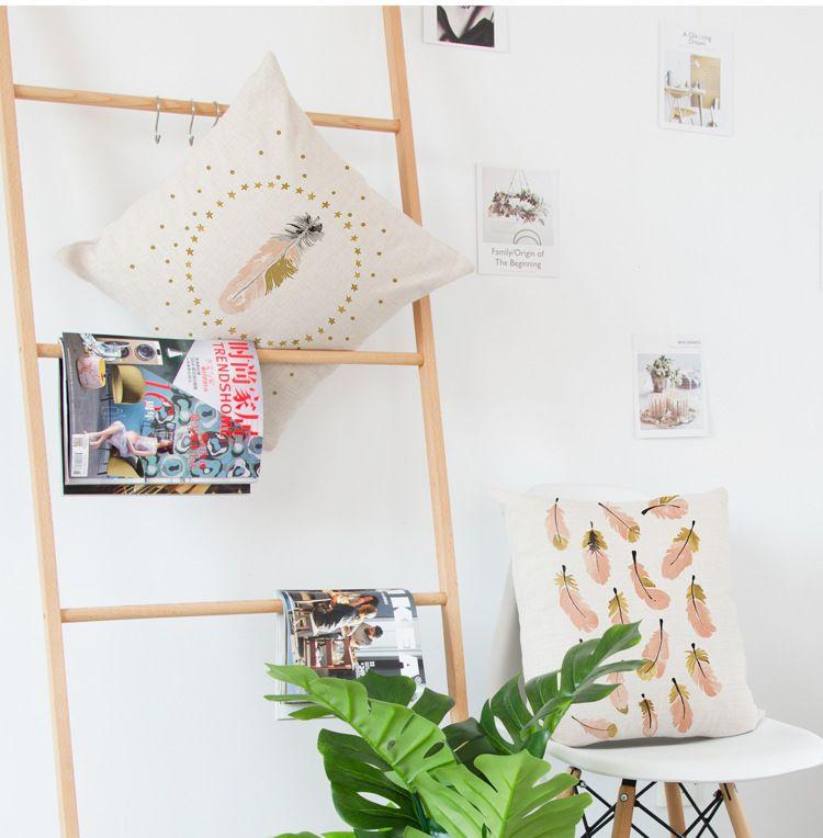Crown Swan Designed fundas de cojines en 6 patrones de mezclas de lino de algodón para la decoración del hogar envío gratis