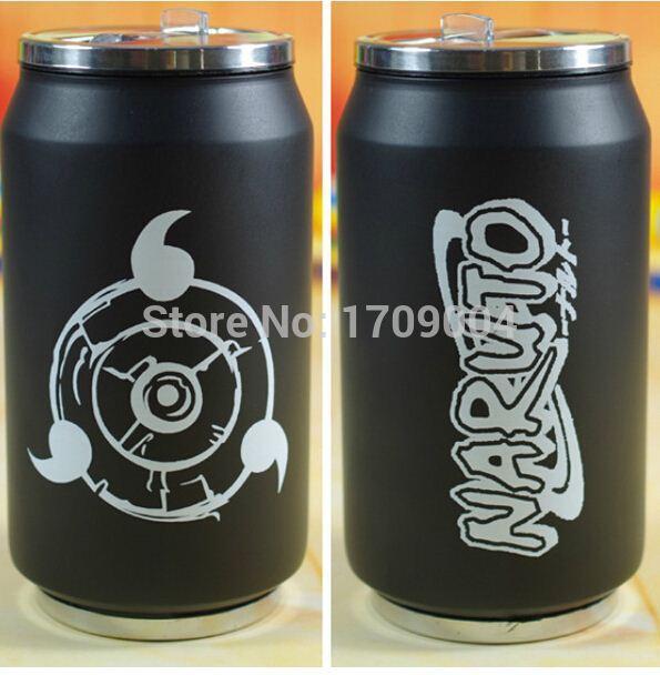 Anime Manga Naruto Cup Black Can 280ml Water Bottle 001