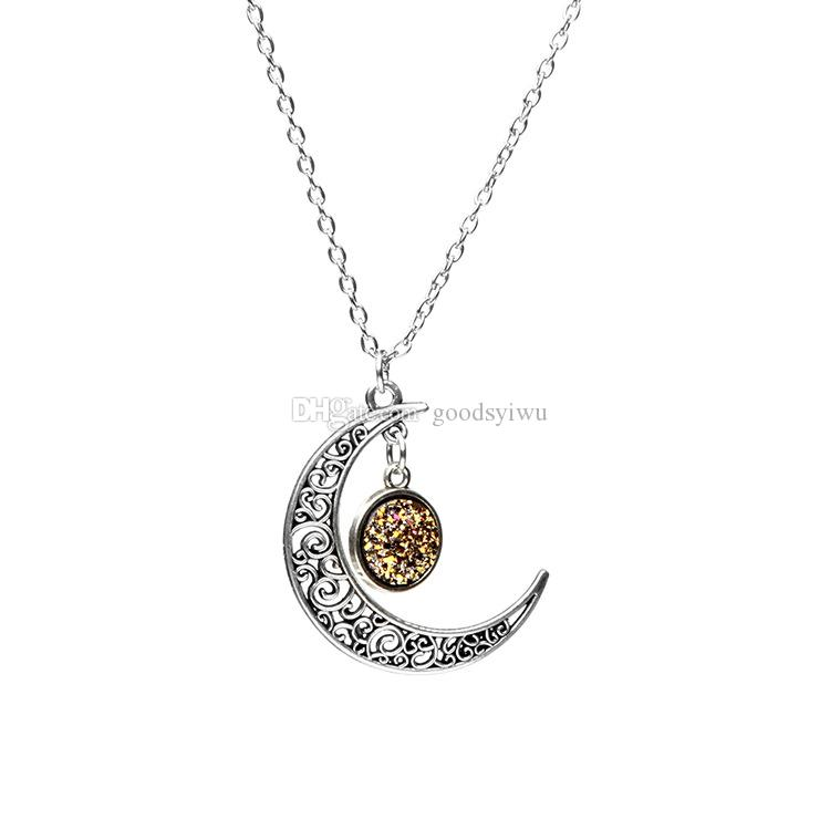 12mm Mermaid Fish Scale Pendant Druzy Drusy Necklace Crescent Moon Sun Shape Stainless steel Chains Jewelry