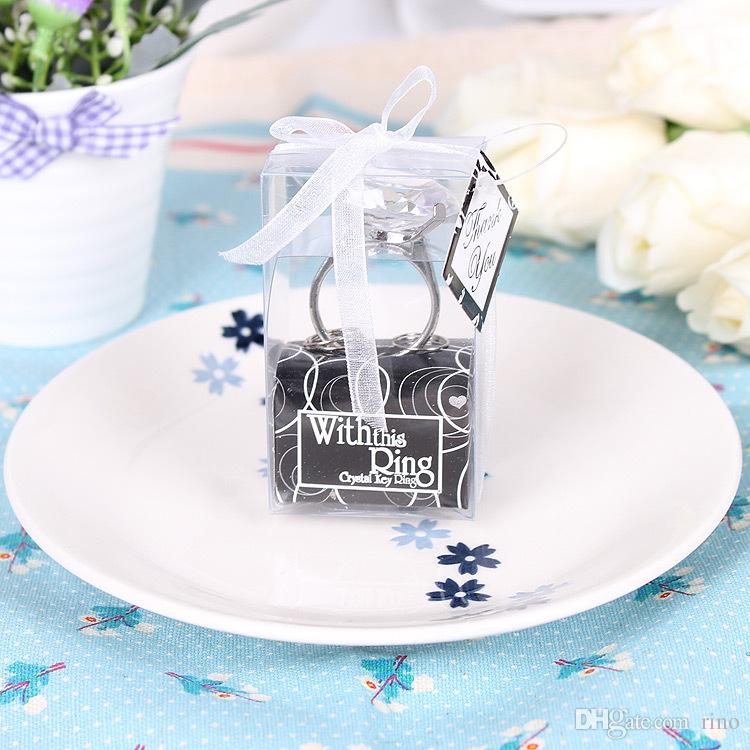 Düğün Elmas Yüzük Anahtarlık Nişan Düğün Süslemeleri Şekeri Anahtarlık Yenilik Dev Elmas Anahtarlık Takı Hediye Kutusu Ambalaj