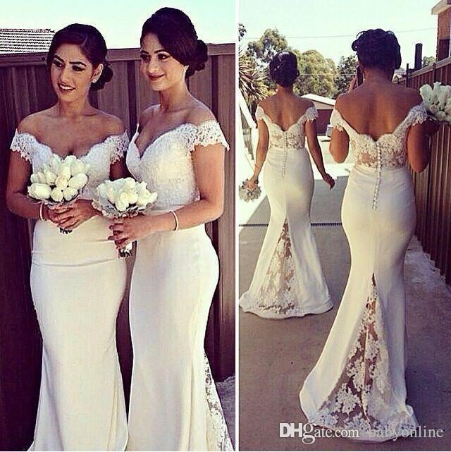2020 Cheap Long Formal Dresses for Women Lace Off Shoulder Mermaid Sweep Train Bridesmaid Dresses Covered Button Back