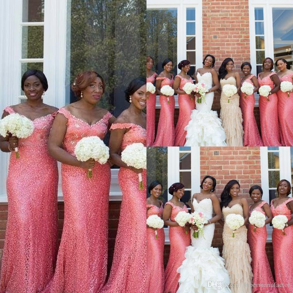 Nigeria style off shoulder mermaid dresses shining sequins wedding see larger image ombrellifo Choice Image