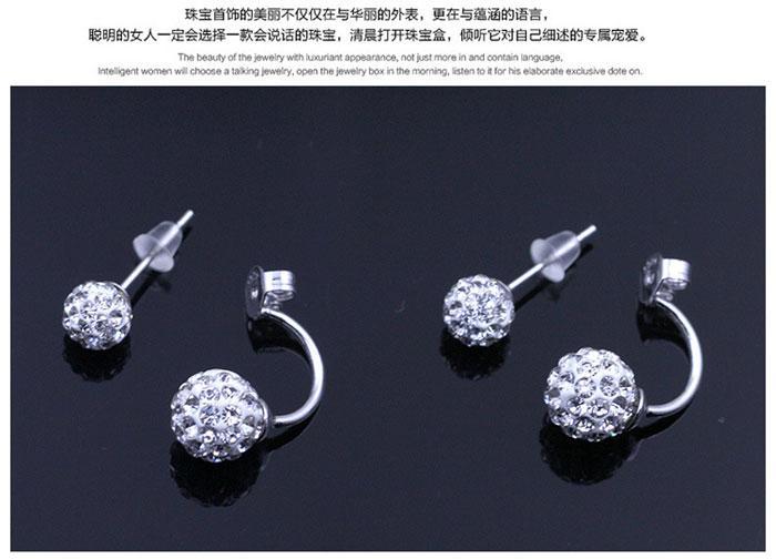 Yeni Takı Kristal Disco Ball Saplama Küpe Avusturyalı Crystal 925 Ayar Gümüş Küpe Düğün için Parti 8mm / 10mm / 12mm