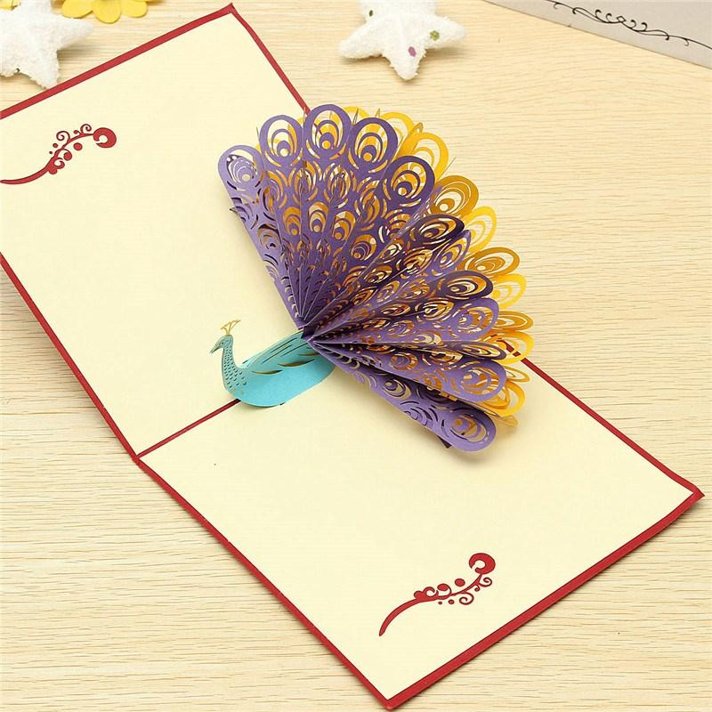 New Arrival Fashion Design D Animals Peacock Pop Up Card Birthday - Amazing artist carves beautiful designs paper