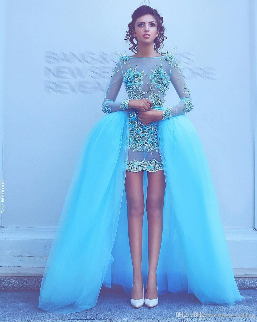 Hi-lo Prom Dresses With Detachable Train Tulle See Through Bateau Evening Dresses Formal Occasion Custom Made Tulle For Women's Dress