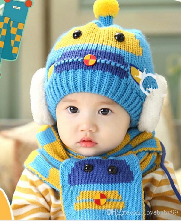 Korean Robot Cartoon Pattern Modelling Design Baby Boys Girls Woolen